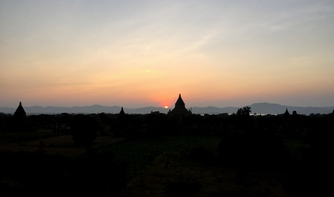 Watching the sunset from a solitary temple away from tourists in Bagan