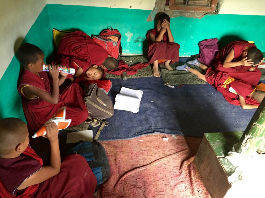 The classroom of a Tibetan school in Thiksey monastery, Ladakh