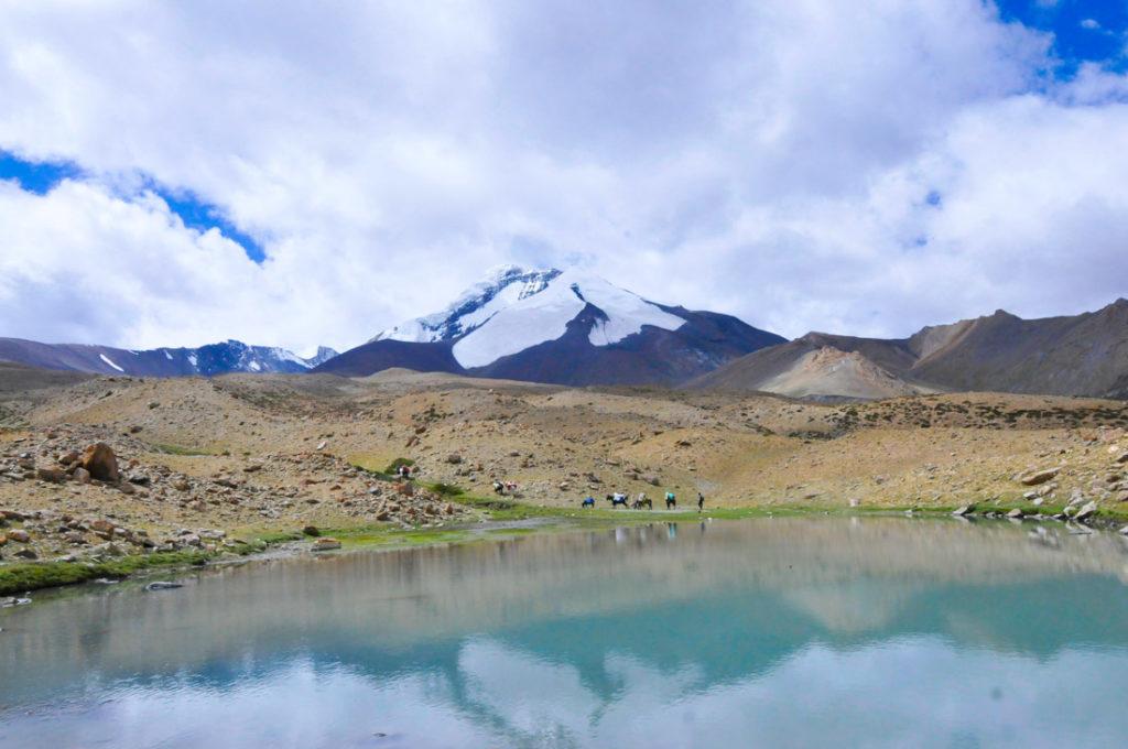 Kang Yaze reflected on a lake, during Markha Valley trek