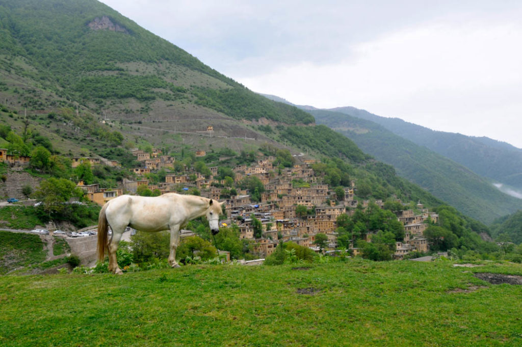 Masuleh and a horse from a top of a hill