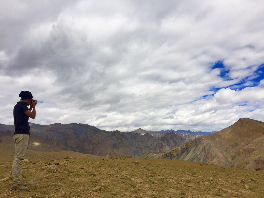 Taking a picture over Markha valley at 4,800m