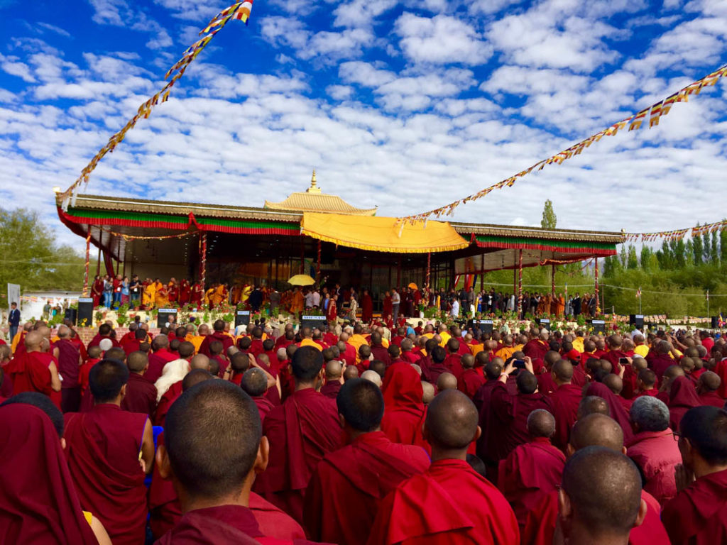 Buddhist monks attending atr Dalai Lama speech in Ladakh