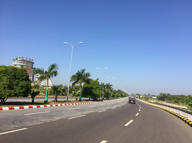 Nay Pyi Taw ridiculously big road which uses to be always empty