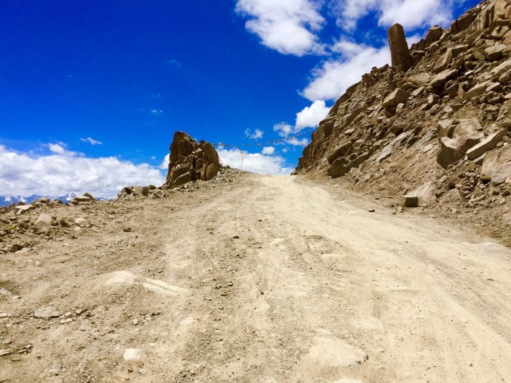The steep ascend of Khardung La road, world's highest road