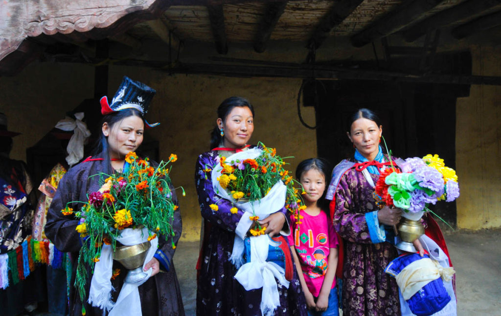 Tibetan culture of Ladakh is very strong and women dress in traditional dress