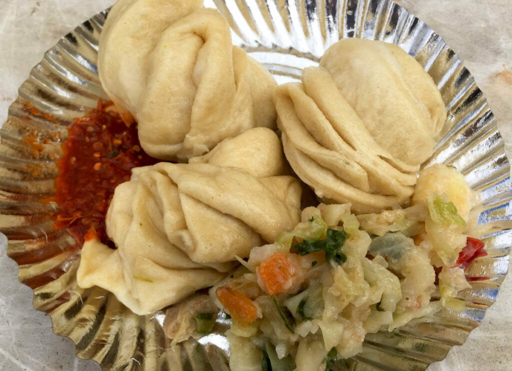 Tibetan tingmo, flour buns eaten with chilly and veegtables