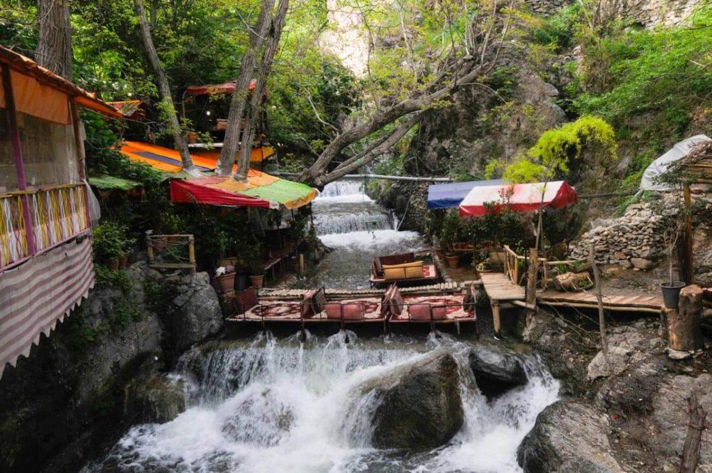 Hookah lounge on a river in Darband, Tehran