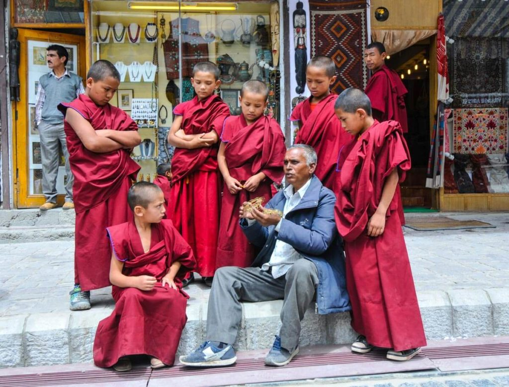 Little monks somewhere at the streets of Leh