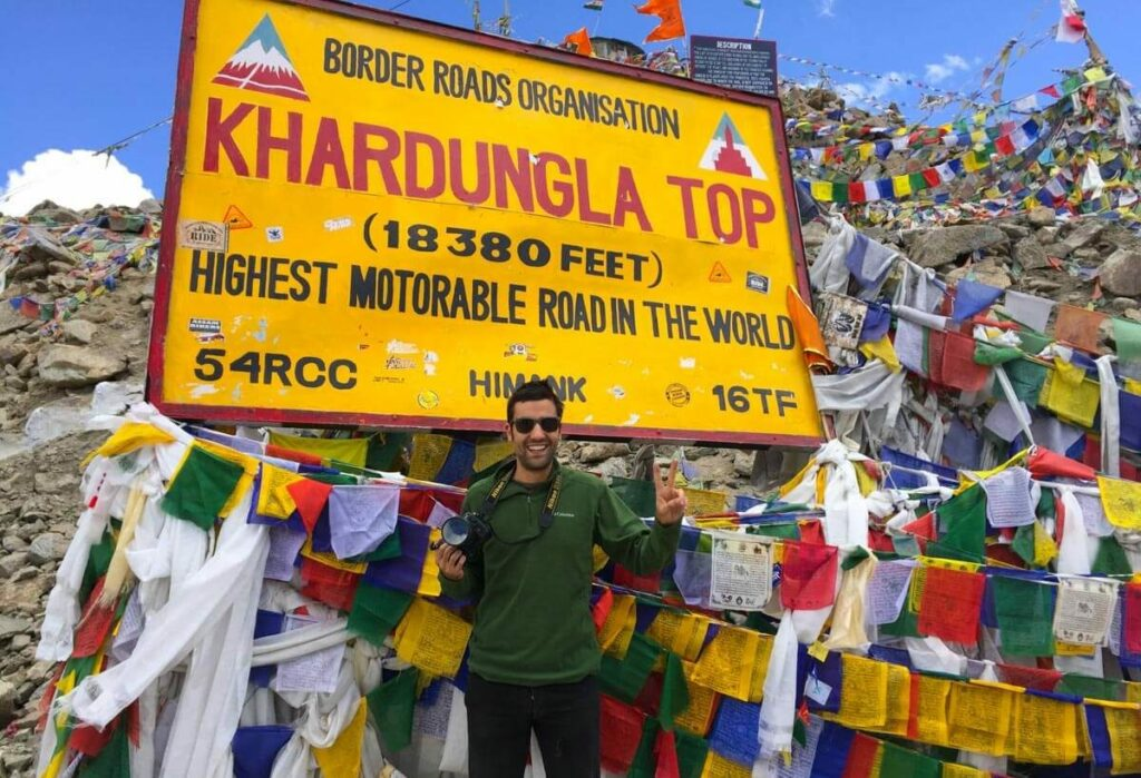 At the top of Khardung La road, the highest road in the world