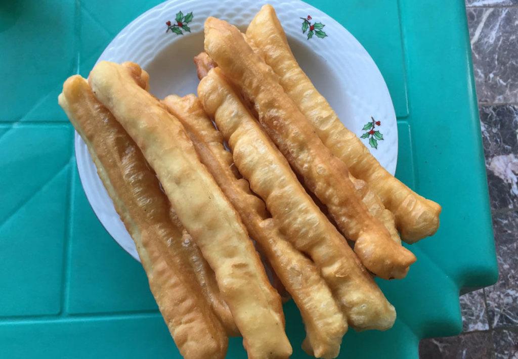 Myanmar fried churros are a very common breakfast in Myanmar