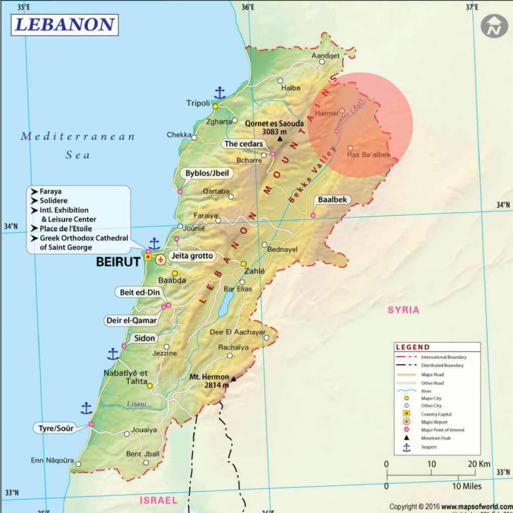 The potentially dangerous area of Lebanon