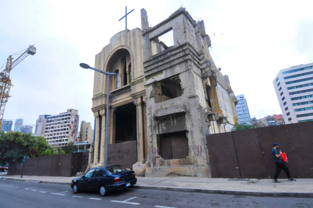 A church destroyed by the Civil War, 25 years ago in Lebanon