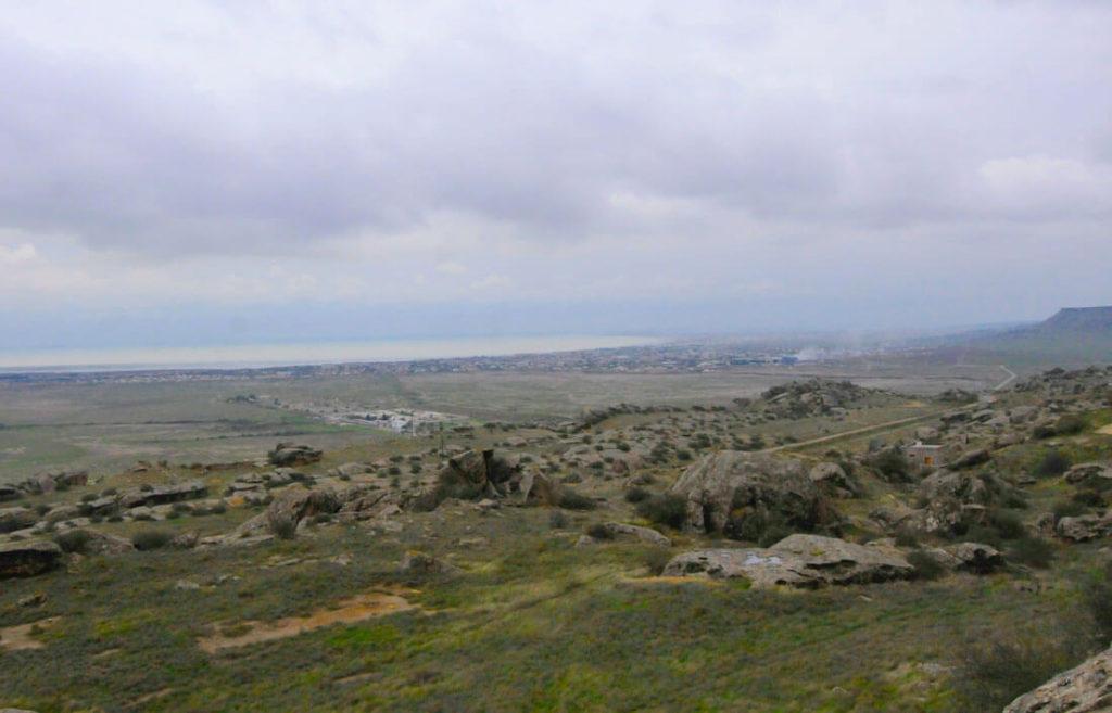Views of the Caspian Sea from the Qobustan Petroglyphs Reserve