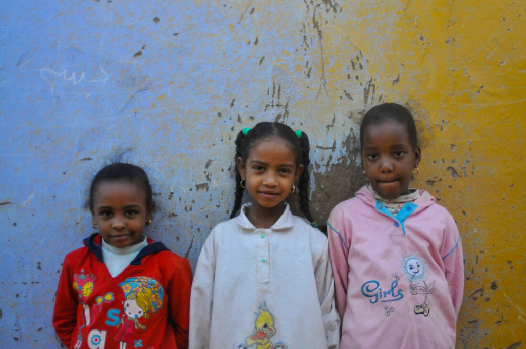 Nubian girls in a Nubian village in Aswan