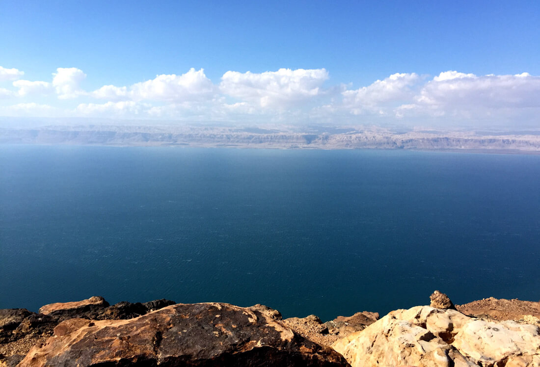 The Dead Sea from Jordan side and Palestine at the other side