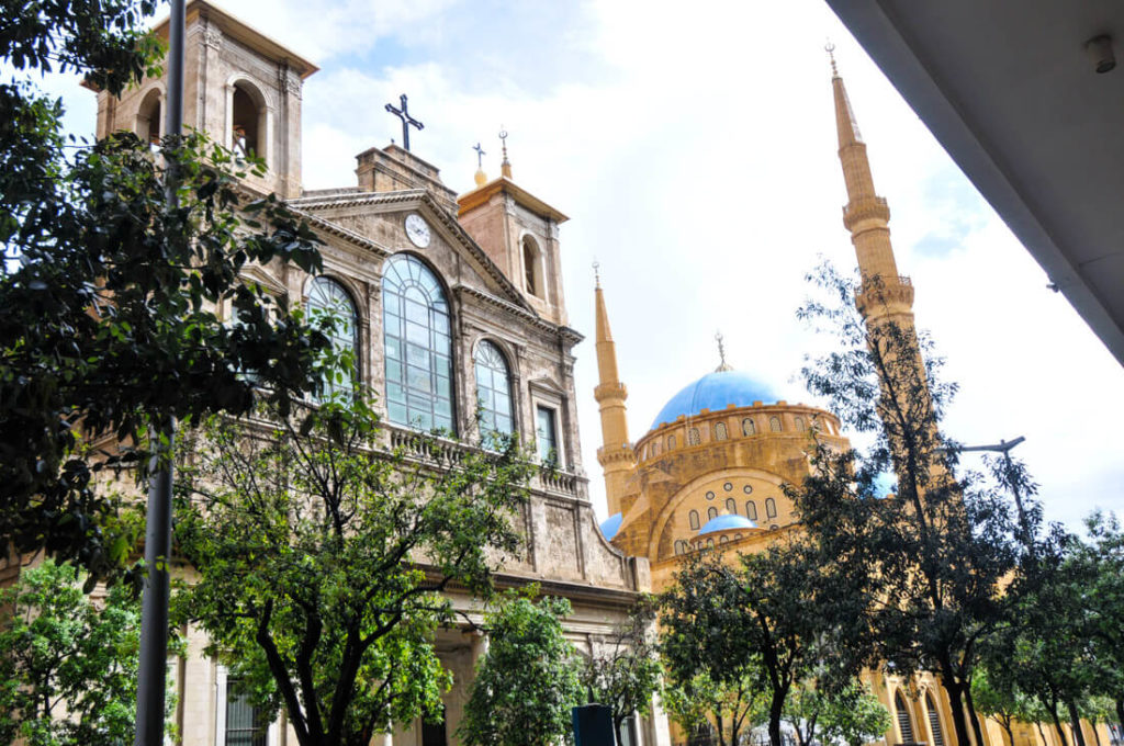 A mosque and a church built side by side in Beirut