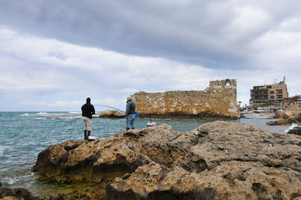 Fishermen at Byblos harbor, Lebanon
