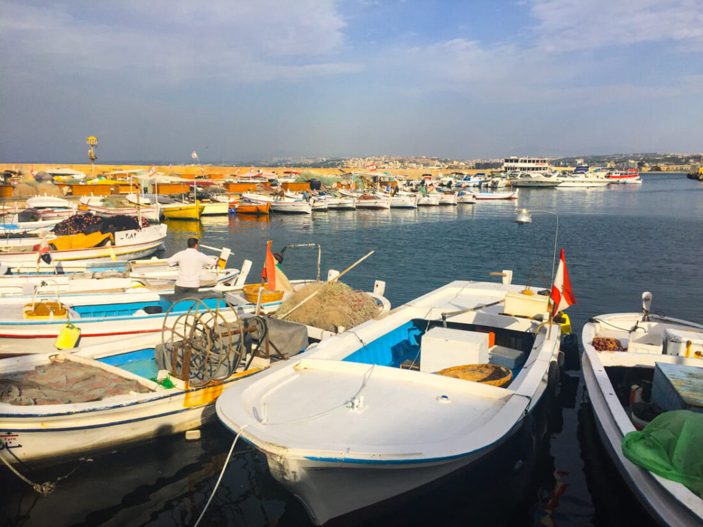 The colorful harbor of Tyre