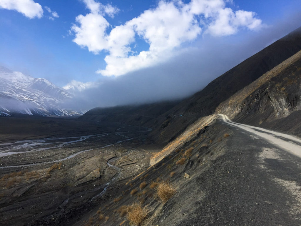 The road to the Caucasian village named Xinaliq