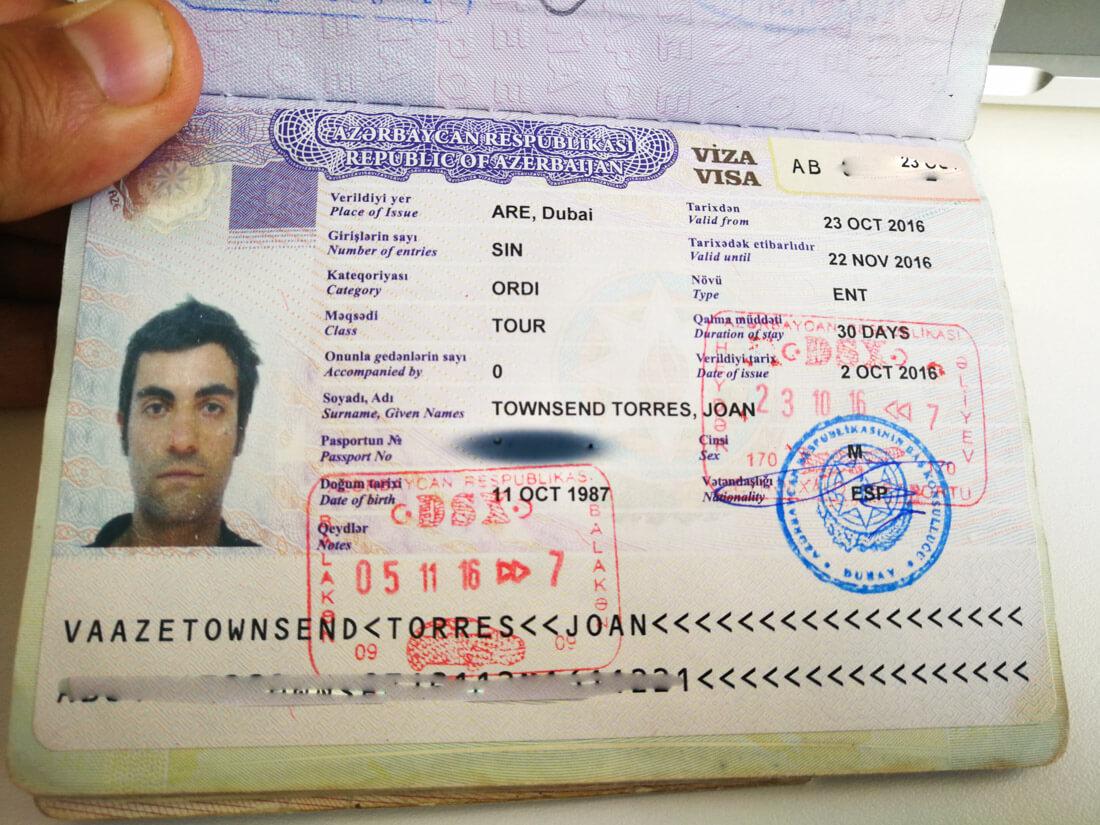 visado para azerbaiyán