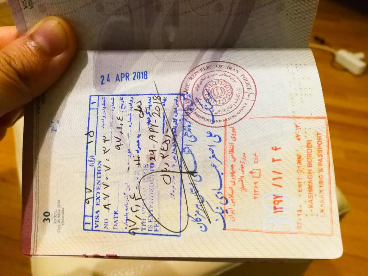 Extensión de visado Irán