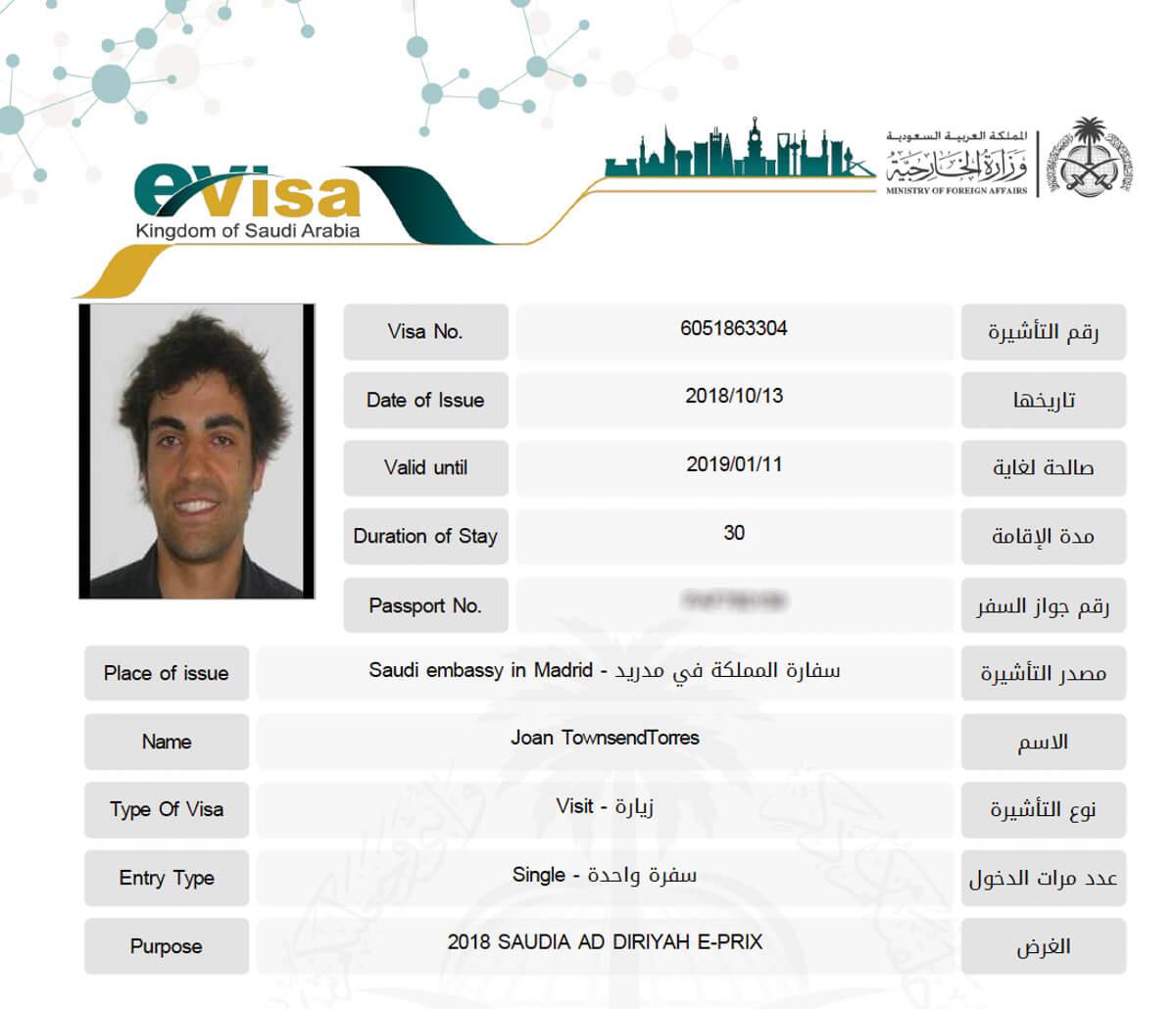 visado para Arabia Saudita
