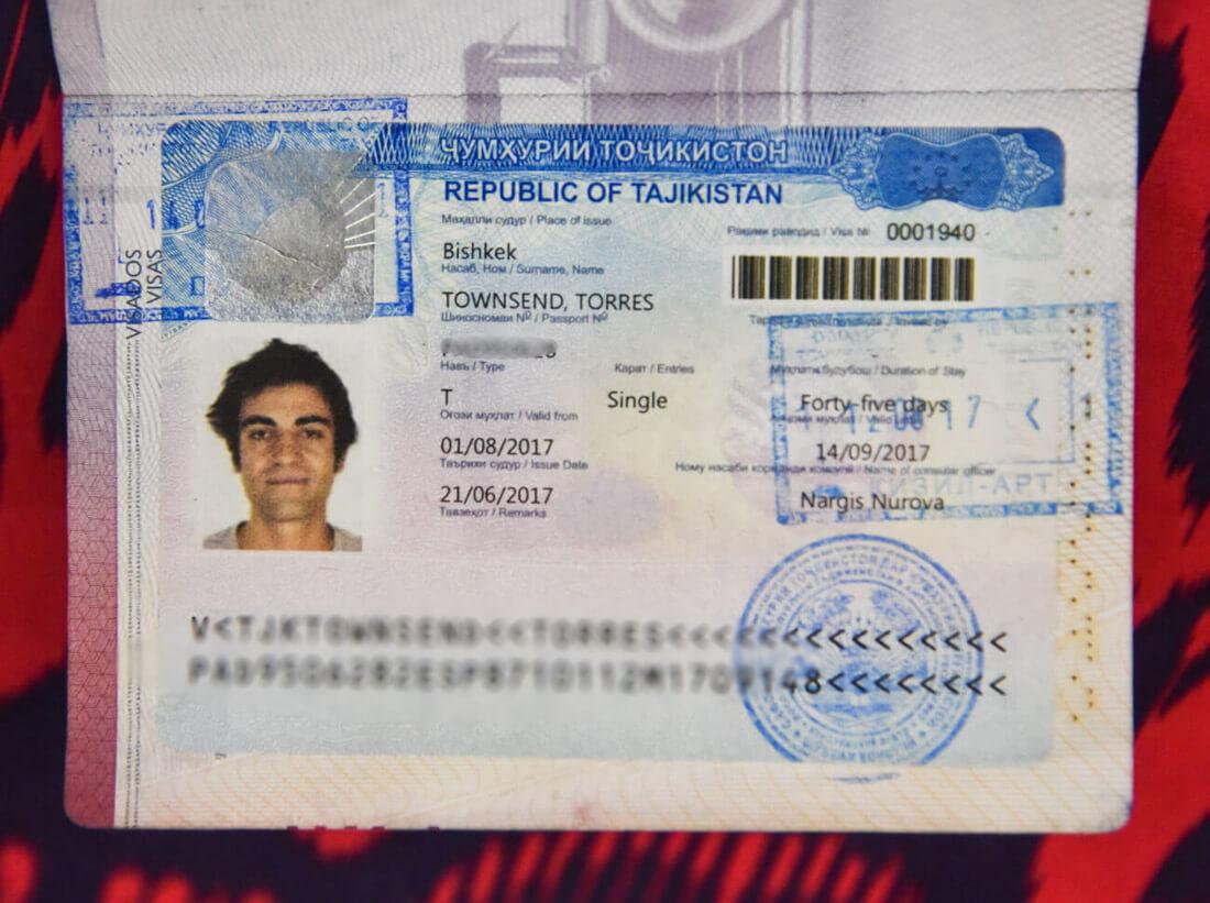 visado para Tayikistán