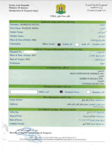 tourist visa for Syria