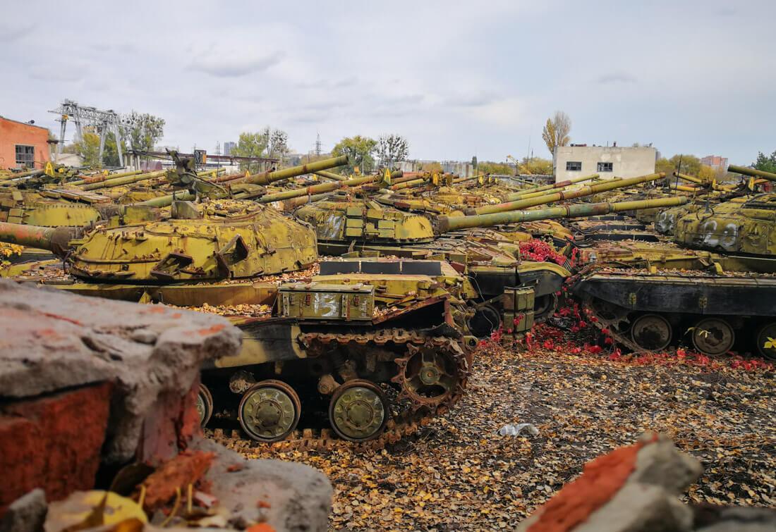 tank graveyard Kharkiv
