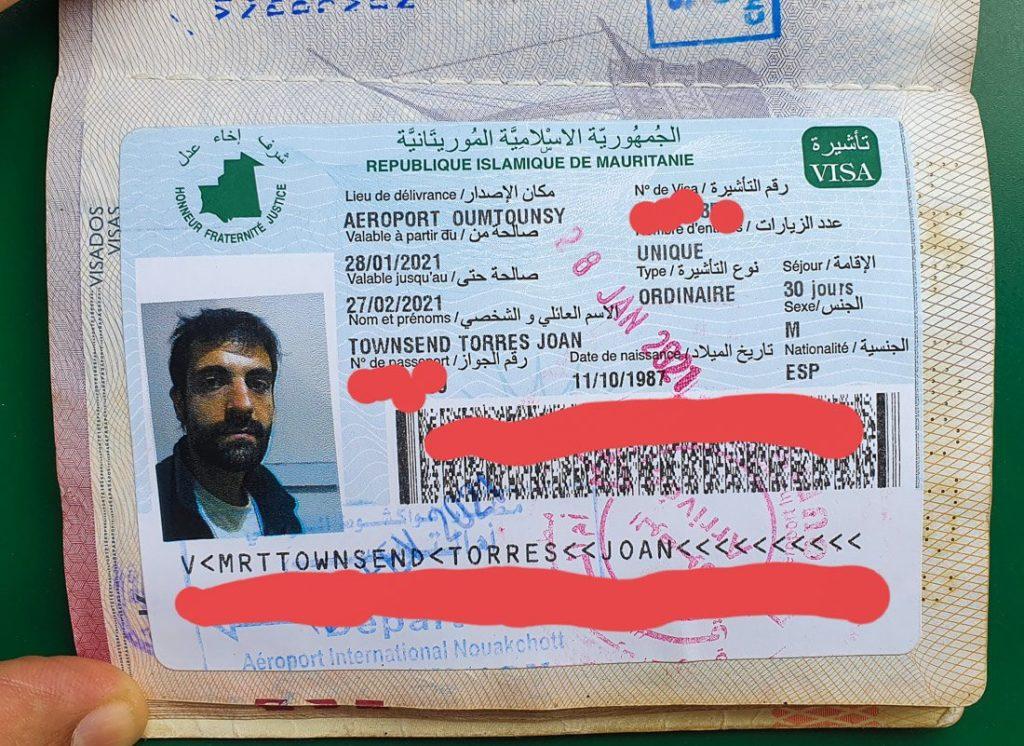 visado para Mauritania